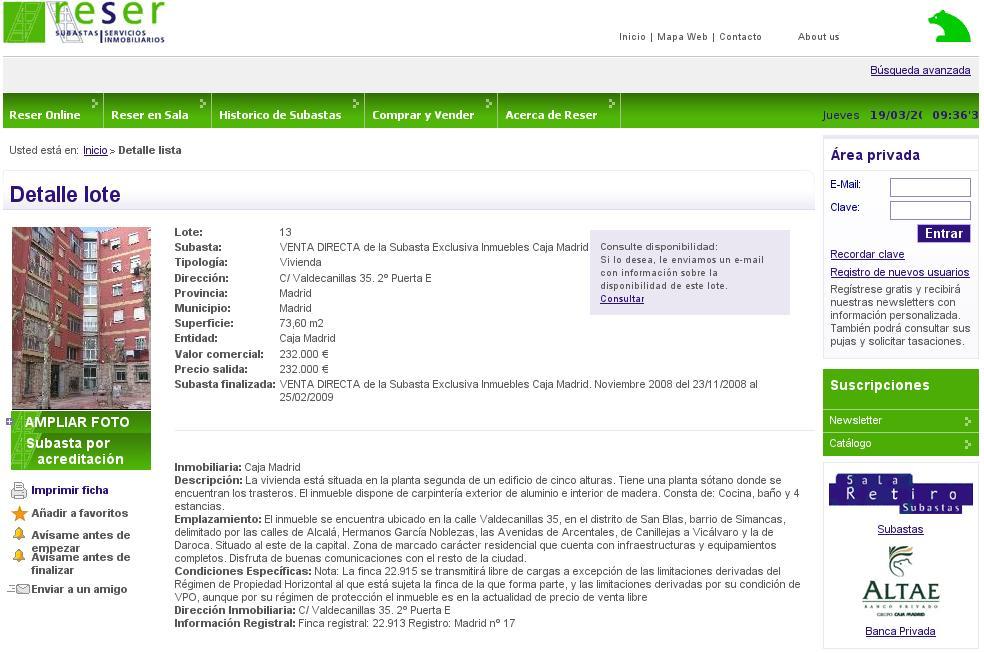 Reser cismisa caja madrid los pisos y los precios productor de sostenibilidad - Subastas de pisos embargados ...