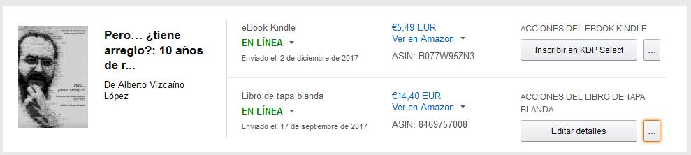 captura de pantalla mostrando el menú de opciones de la página de autor de amazon