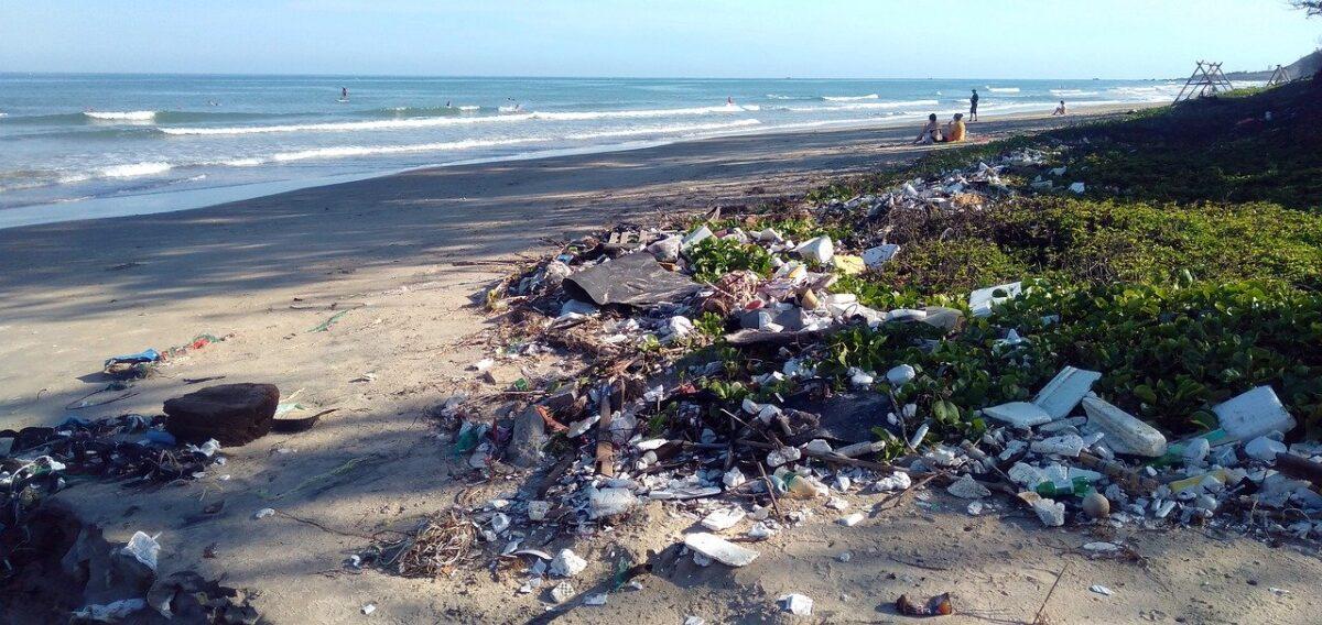 residuos de plástico contaminando la costa