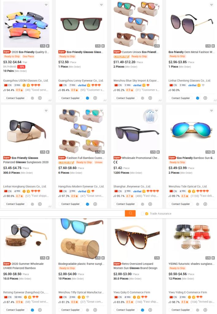 Captura de pantalla de ofertas de gafas de bambú ecofriendly sostenibles baratas