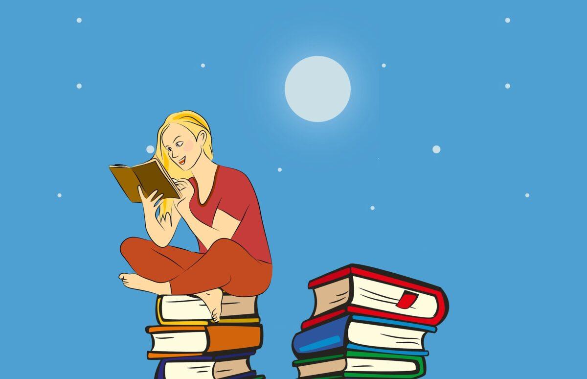 Dibujo de una persona leyendo