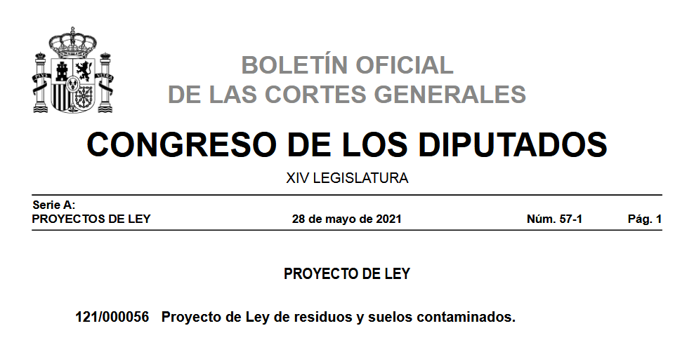 Proyecto de Ley de residuos y suelos contaminados